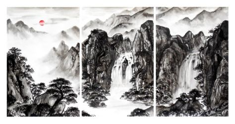 Landscape Painting Triptych - The Pilgrim's Path