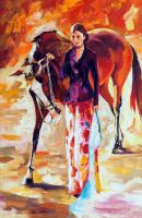 With My Horse by Leonid Afremov by Leonidafremov