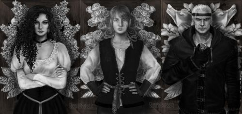 Witcher Triptych Books by CloudsDevourer