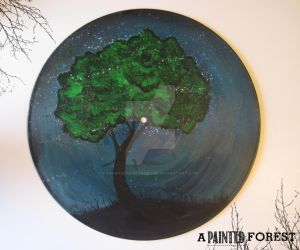Vinyl Record Painting - Blue and Green Tree by paperheartsyndrome