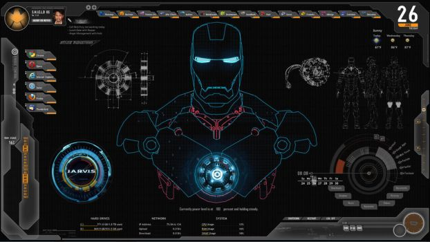JARVIS + SHIELD Interface : Rainmeter Theme by edreyes
