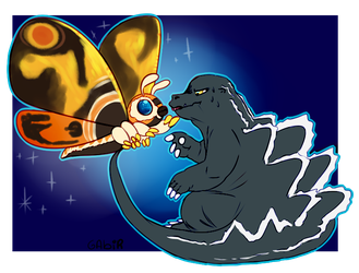 Shiptember Godzilla x Mothra [Day7] by gmt-Gabir