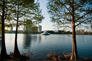 lake eola fountain city scape by ebstock