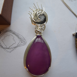 Purple Agate and Black Tourmaline Pendant by StuffyMcbPb