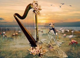 Harp, and flamingos by ladyjudina