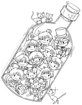 Sailor Senshi in a Bottle by YamPuff