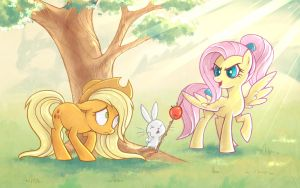 Character switch: Applejack - Fluttershy by StasySolitude