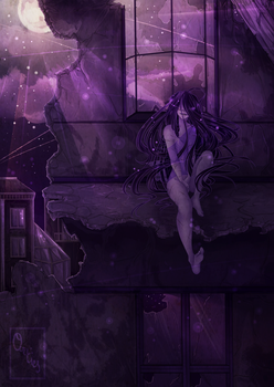 A crow is flying in the night by orties