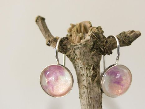 Silver earrings with hand painted glass by OkeMani
