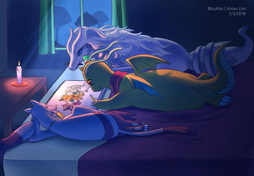 Commission: Art on the Bed by BluuKiss