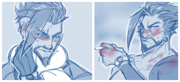 Hanzo Sketches CROPPED by Jellygay