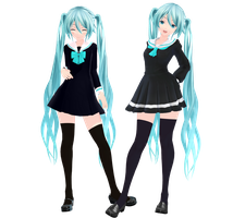 Miku Hatsune School Girl Models (+DL) by Starlight-Enterprise
