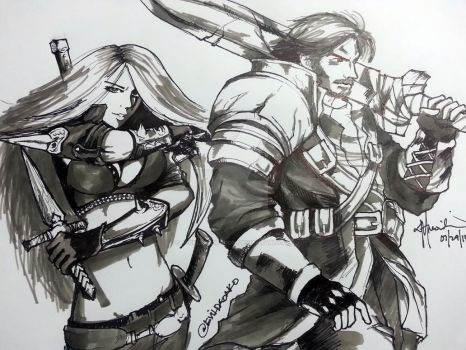 League of Legends Katarina and Garen by recklessdragon