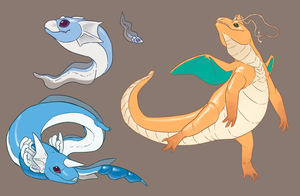 Dragonite n family by umbbe