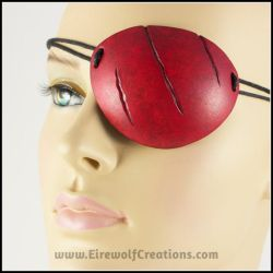 Scarred red leather eye patch by EirewolfCreations