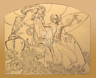 Alphonse Mucha Drawing study by DarkKenjie