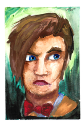 11th Doctor Watercolor Painting by Chrisily