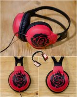 Commission - RWBY Ruby Rose headphones by Lipwigs