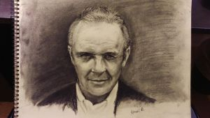 Anthony Hopkins practice drawing. Charcoal. by akarudsan