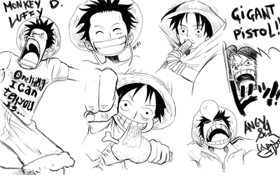 Monkey D Luffy digital Sketches by Angy89