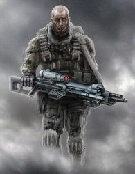 Lonely soldier walks into smoke with heavy gun by Likozor
