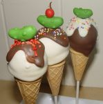 Ice Cream and Pickles Baby Shower Cake Pops by scrltphnx