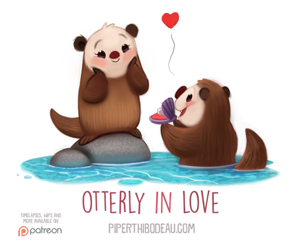 Daily Paint 1546. Otterly in Love by Cryptid-Creations