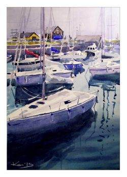Courtown Boats Vertical by katekos-art