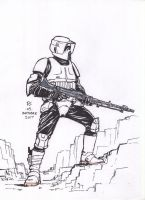 #Inktober pen sketch - Scout Trooper by Robert-Shane