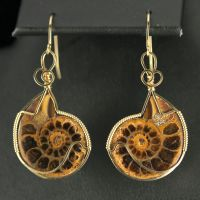 Ammonite Earrings in Gold by innerdiameter