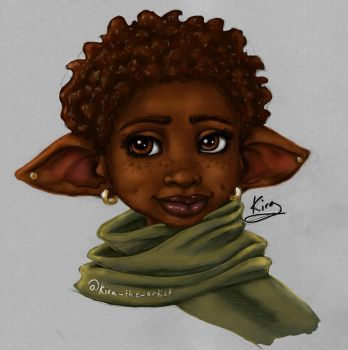 Cute Little Elf Girl colored sketch by KiraTheArtist