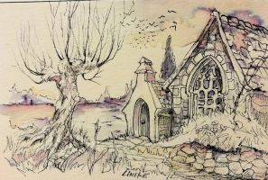 Urban Sketching Cottage and willow tree by Lineke-Lijn