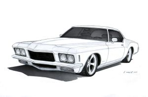1971 Buick Riviera Custom Drawing by Vertualissimo