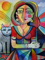 Lady with cat by karincharlotte