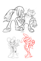 Sonic Themed Doodles by Tigsie