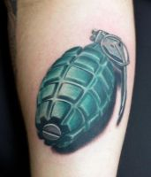 grenade tattoo by pantsatpants