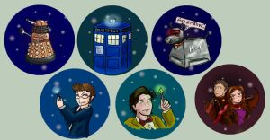 Doctor Who Pins by Mirrankei