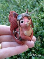 Steampunk Red Squirrel Sculpture by MysticReflections