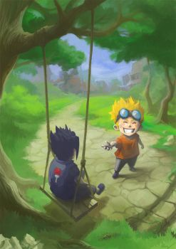 Naruto and Sasuke by Mzag