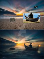 riding on a boat alone in the sea / before-after by midodellouche