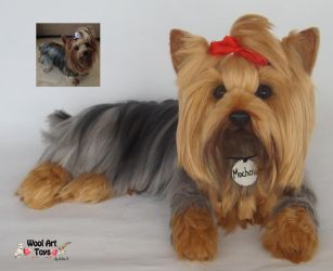 Mochan Yorksire Terrier Needle felted sculpture by WoolArtToys