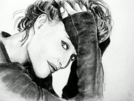 Gillian Anderson Charcoal by StandsWithAPencil