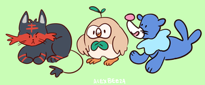 pokemon sun and moon starters by alexbeeza