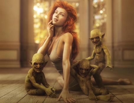 Sexy Red Head Pin-up Girl + Goblins, Fantasy Art by shibashake