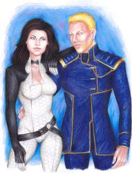 Miranda Lawson and Kenneth Shepard by LeilaAscariz