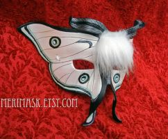 White Moth Leather Mask by merimask