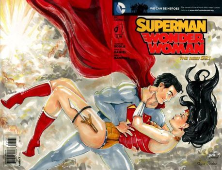 Blank Cover Super Man and Wonder Woman by VirginieSiveton