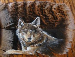 Wolf Feather Painting by SpikedPyro