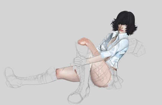 :WIP: Devil May Cry 3 Lady by MaidenoftheFlowers