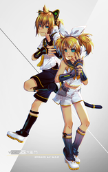 Vocaloid Big chaos kagamine by WhiteRiceBear
